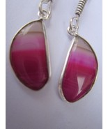 ONE PAIR MULTI CHALCEDONY STERLING SILVER PLATED  EARRINGS #1589 - $8.54