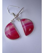 ONE PAIR MULTI CHALCEDONY STERLING SILVER PLATED  EARRINGS #1578 - $7.67