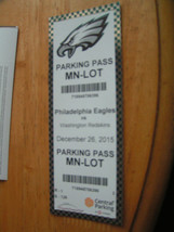 NFL Philadelphi Eagles Vs. Washington Redskins Parking Pass 12-26-15 Tic... - $3.99