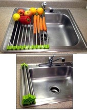Folding Drain Rack Stainless Steel Silicone Vegetable Rinsing Station 2 ... - $15.99