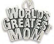 Stamped Genuine .925 Sterling Silver World's Greatest Mom Charm