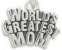 Stamped Genuine .925 Sterling Silver World's Greatest Mom Charm - €21,02 EUR