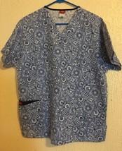 Women's Dickies Blue Scrub Top Medium  - $6.51