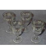 Four Stemware Cordial Glasses Painted Grape Vine Motiff - $24.95
