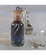 Handmade Glass Bottle Necklace Zip Clips Peacock Feathers Dream Lotus .925 Chain - $21.99