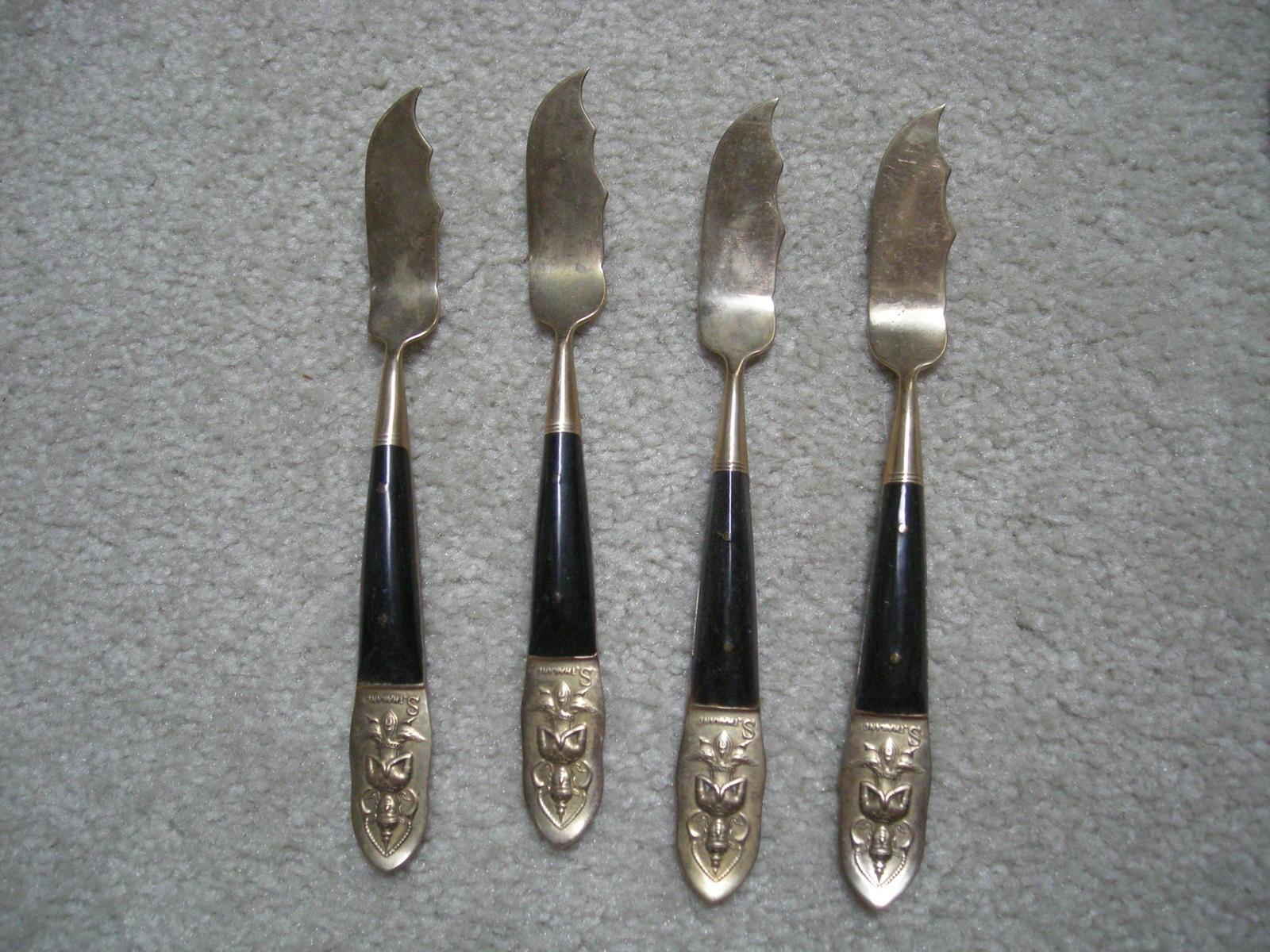 Vintage 34 piece thai brass and black flatware brass - Thailand silverware ...