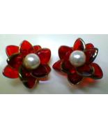 Vintage Jewelry Clip On Earrings Ruby Red Flower w Pearl Funky Retro Ear... - $39.99