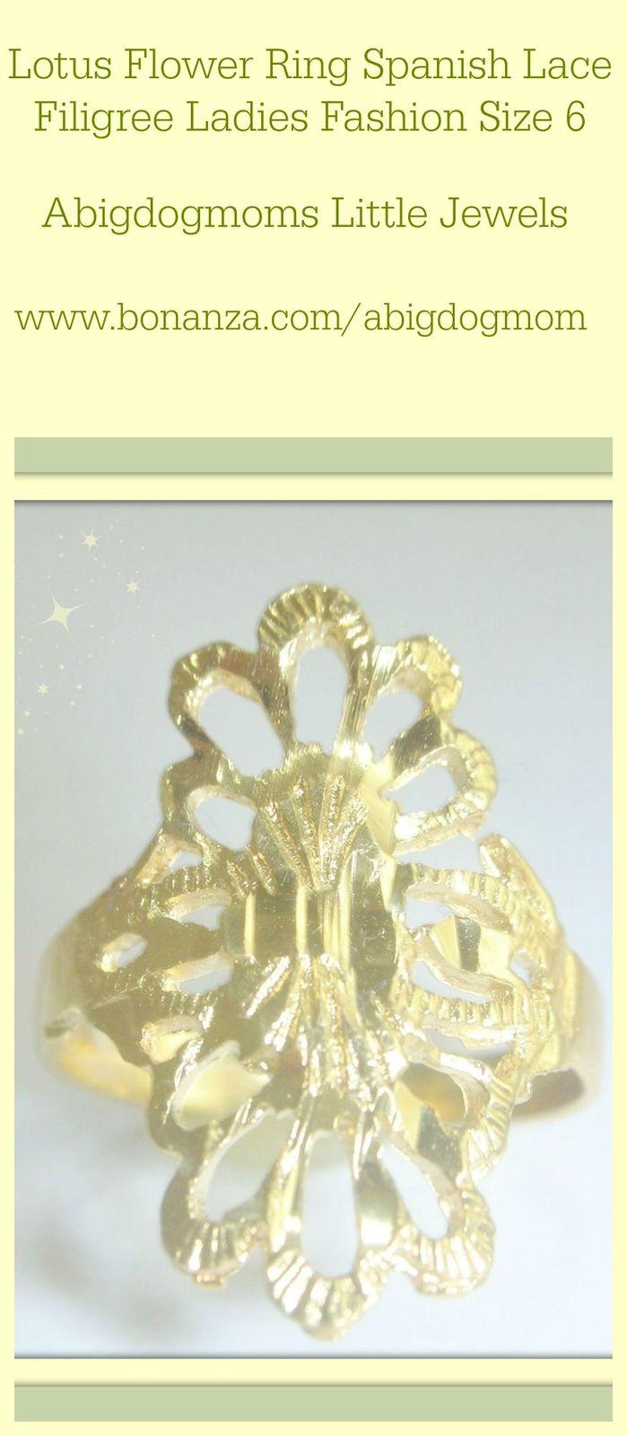 Lotus Flower Ring Spanish Lace Filigree Ladies Fashion Size 6