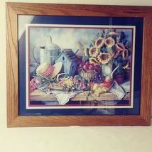 Home Interiors Picture Sunflowers Hat Birdhouse Fruit Sold Wood Frame  image 5