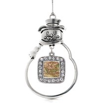 Inspired Silver Vintage Map Classic Snowman Holiday Decoration Christmas Tree Or - $14.69