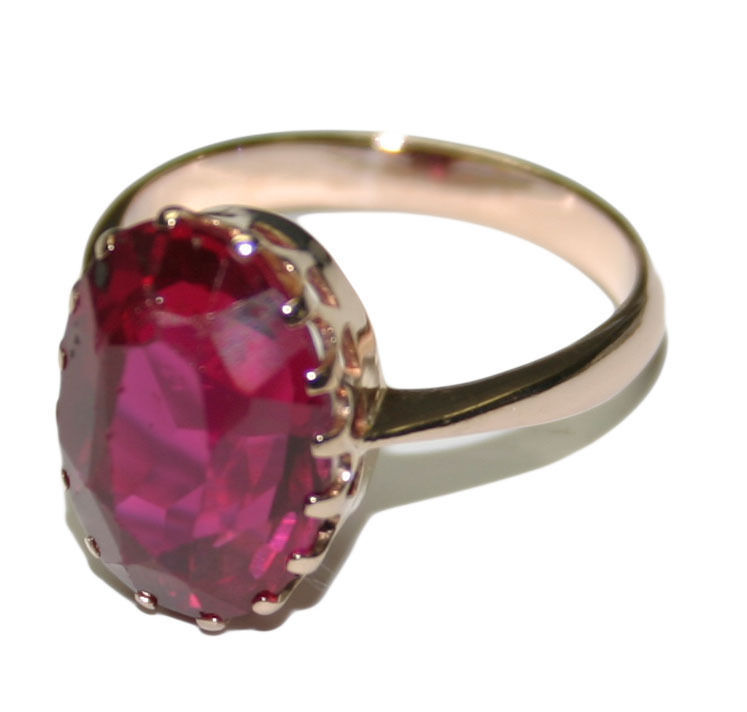 Vintage 14k Rose Gold Synthetic Red Stone Ring - Size 7 - $395.00
