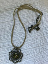 Estate Tan Leather Cord w Antique Goldtone Green Rhinestone Flower Penda... - $10.39