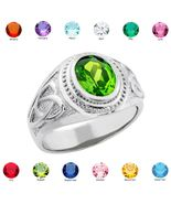 925 Sterling Silver Celtic Men's Birthstone Ring (all 12 months) Made in USA - $49.99