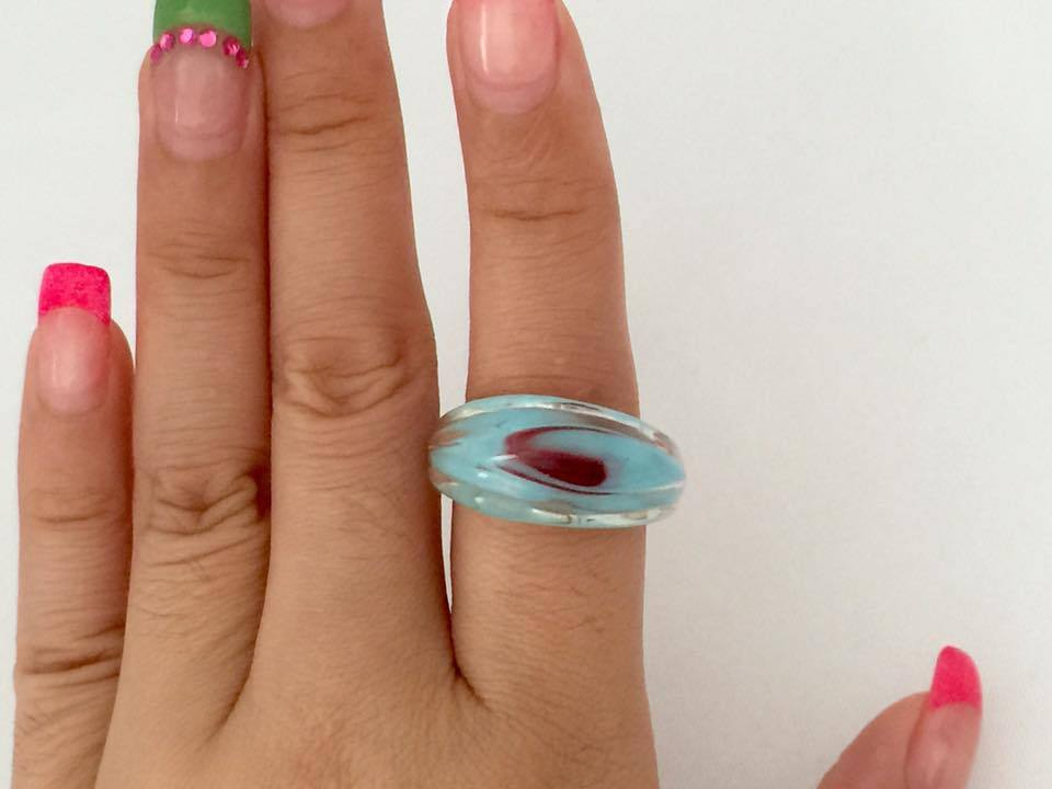 Vintage Jewelry MURANO White, Blue & Pink Glass Ring Size 8.25