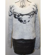 Guess Crop Sweater Women Long Sleeve Large Fur Cat Print - $46.74