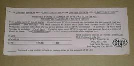 Styx Vintage Fan Club Merchandise Flyer The Main Event - $12.99