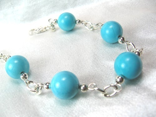 Round turquoise sterling silver chain bracelet cc62d1f6 1