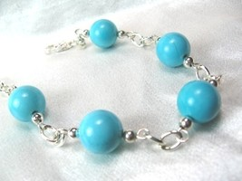 Round Blue Turquoise Silver Chain Beaded Bracelet - $18.00