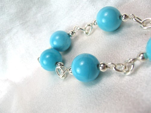 Round Blue Turquoise Silver Chain Beaded Bracelet