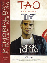 ERICK MORILLO Hosts Memorial Day May 30 @ TAO BEACH Las Vegas Promo Card - $1.95