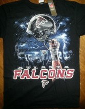 Atlanta Falcons  New With Tags Sky Helmet T Shirt Black Nfl Licensed Apparel - $21.77+