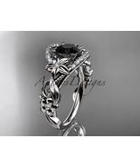 Platinum diamond engagement ring with a Black Diamond center stone ADLR211 - $2,400.00