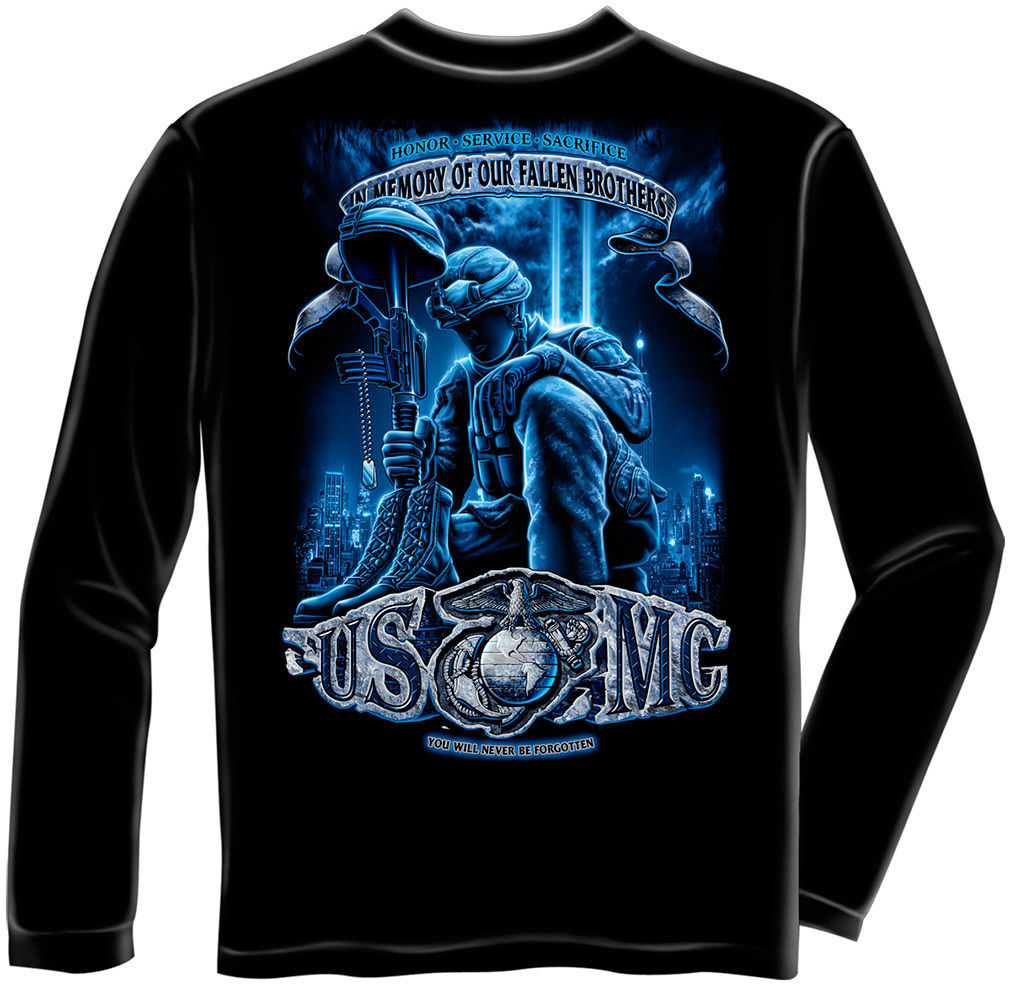USMC- YOU WILL NEVER BE FORGOTTEN-   LICENSED LONGSLEEVE T Shirt PATRIOTIC USA