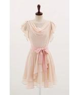 Sweet Butterfly Sleeves Cowl Neck Blush Pink Chiffon Dress. Bridesmaid D... - $88.90