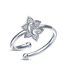 18k White Platinum Plated Solid Sterling Silver Charming Ganpati Adjustable Ring - £12.22 GBP