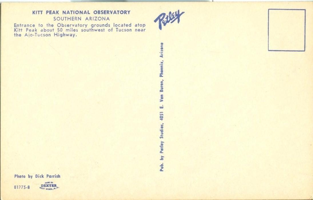 Kitt Peak National Observatory, Southern Arizona, unused Postcard