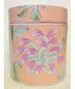 Chinese Pink Floral Lidded Jar Cylindrical Shape - $40.09