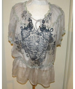 Do & Be Very Sheer Black & White short sleeve Peasant Top Size L loose c... - $9.99