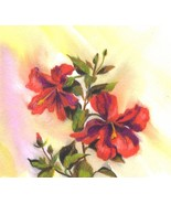 "Akimova: RED FLOWER, garden, still life, watercolor, 4""x3.5"" - $4.00"