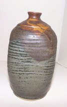 "Beautiful Hand Crafted Rustic Stoneware Pottery Bottle / Vase 7-1/2"" tall - $18.39"