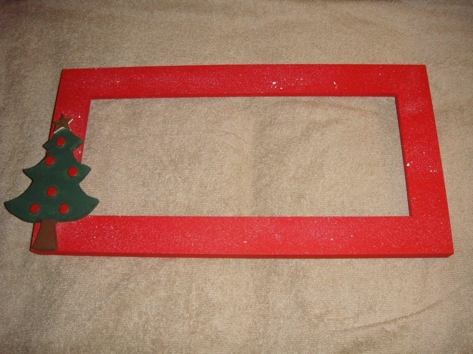 Red Wooden Cross Stitch Frame With Christmas Holiday Tree
