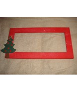 Red Wooden Cross Stitch Frame With Christmas Holiday Tree  - $25.99
