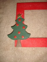 Red Wooden Cross Stitch Frame With Christmas Holiday Tree  image 2