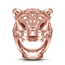 Rose Platinum Finishing Dazzling Panther Ring In 925 Silver W/ Round Red Garnet - $128.13