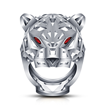 White Platinum Over 925 Pure Sterling Silver Red Garnet Gorgeous Panther Ring 10 - $128.13