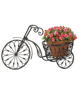 Plant stand  Wrought iron curlicues form shape of old-fashioned bicycle - $21.15