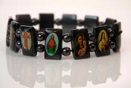 Vintage metal religious stretch bracelet with m... - $12.86