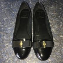 Tory Burch TRUDY Black Patent Leather Logo-Bow Ballerina Flat, Style#170L13, 9.5 - $45.00