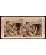 1896 Hawaii Natives Photo Stereoview Eating Poi Grass Hut Hawaiian Islands - $24.99