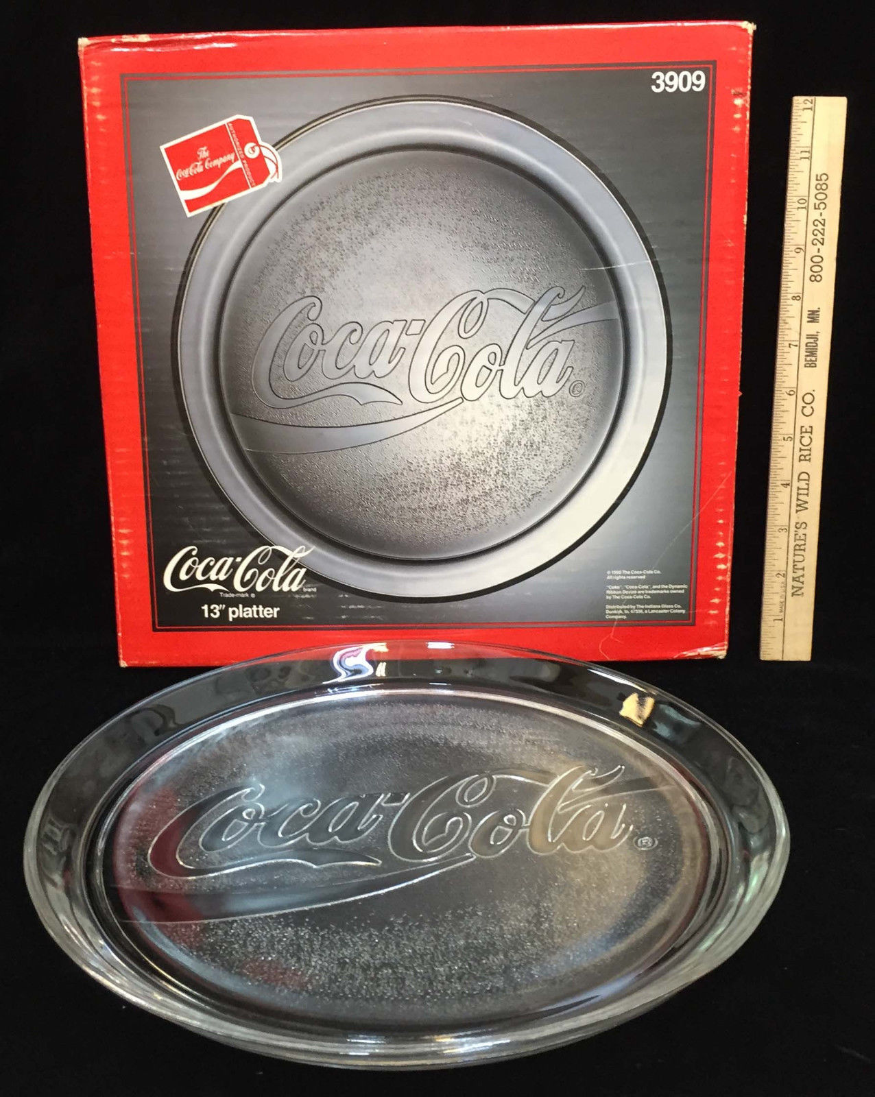 "Primary image for Coca Cola 13"" Serving Platter Tray Clear Glass Stippled Design 1990 Original Box"