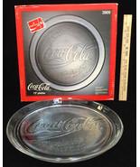 "Coca Cola 13"" Serving Platter Tray Clear Glass Stippled Design 1990 Orig... - $16.82"