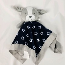 Carters Child Of Mine Gray Puppy Dog Lovey Security Blanket Navy Blue Star - $9.89
