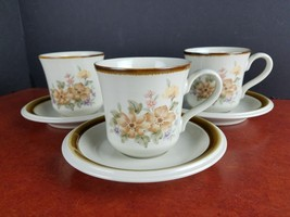 set/3 cups & saucers Mikasa Romantique Gardenside mug dinnerware KN006 - $15.80