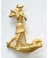 """Elegant Matte Gold-tone Woman Golfer Brooch 1980s vintage 2"""" - $12.30"""