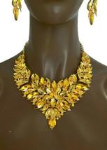 Elegant Zitrus Gelb Kristalle Abend Statement Lätzchen Halskette Ohrringe - $59.24
