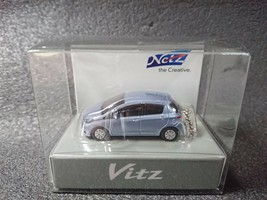 TOYOTA Vitz Yaris Light Blue Mica Metallic LED Light Keychain Mini Car Japan - $22.16